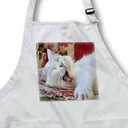 Turkish Van Cat Yawning - lol, laughing out loud, white cat, van cat, van kedisi, turkish van cat Apron