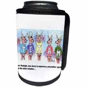 Kevin Edler Cartoon about Rudolphs Troubles for Christmas Can Cooler Bottle Wrap