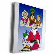 Larry Miller - Tribute to the Baby Jesus by the 3 Wisemen and Santa Museum Grade Canvas Wrap