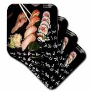 Mixed Sushi n California Roll Plate w Japanese Symbols Coaster