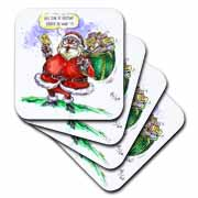 VAL Cartoon about Gift Card Giving for Christmas Coaster