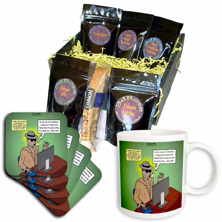 Invisible Man Internet Dating and Web Catfishing Coffee Gift Basket