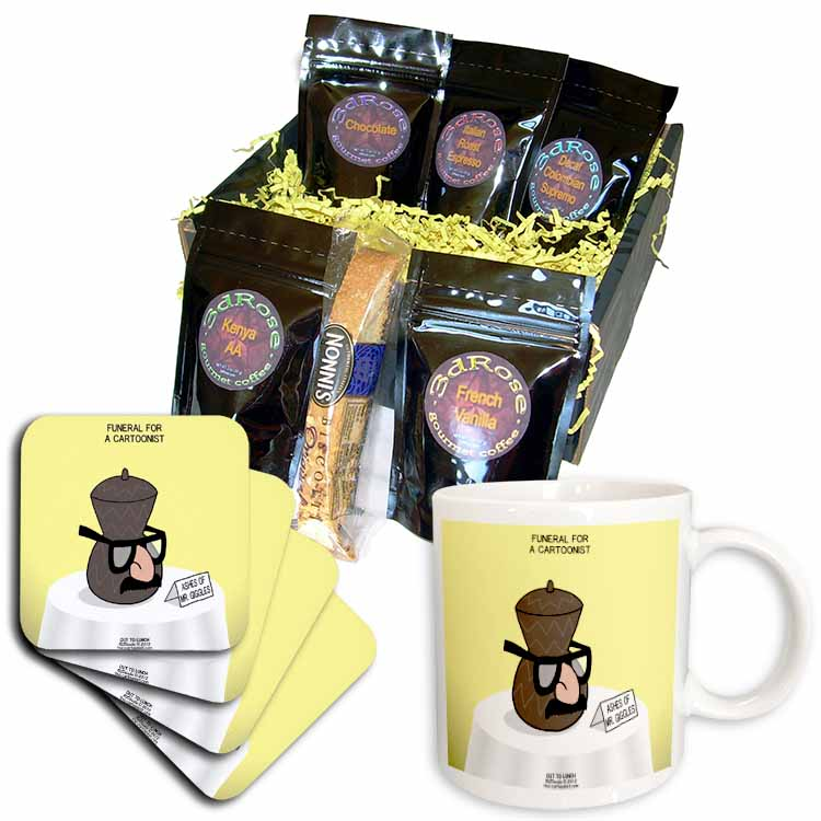 Funeral for a Cartoonist - Groucho Glasses on an Urn Coffee Gift Basket