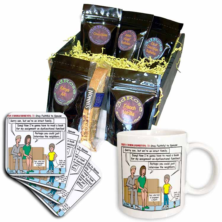 Ten Commandments 7 Stay Faithful to Spouse Coffee Gift Basket