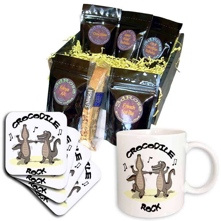 Out to Lunch Cartoon Crocodile Rock Coffee Gift Basket