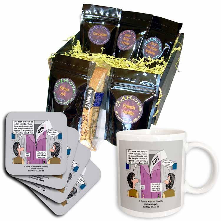 Matthew 27 11-66 the tearing of the temple curtain darkness and earthquakes Coffee Gift Basket