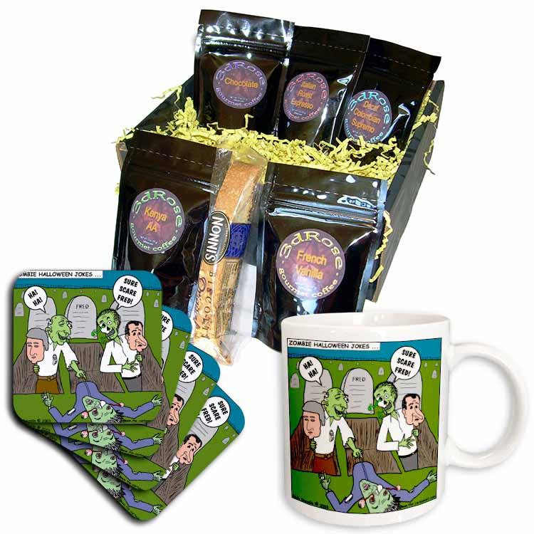 Halloween - Zombie Practical Jokes - Clinton and Nixon Masks Coffee Gift Basket
