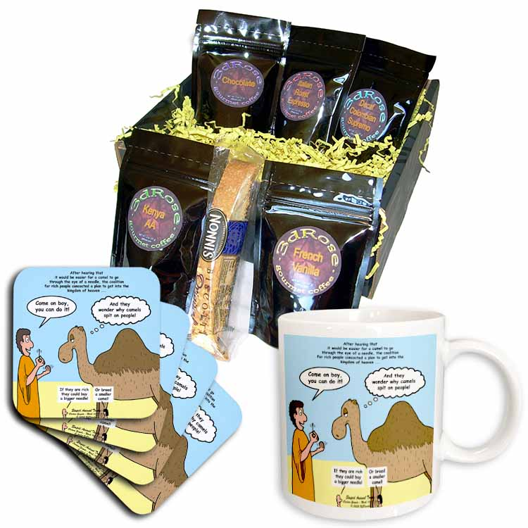 Mark 10-17-31 Stupid Animal Tricks - Camel through the Eye of a Needle Parable Coffee Gift Basket