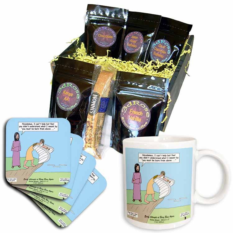 John 3 1 - 17 Jesus talks to Nicodemus about being born again Coffee Gift Basket