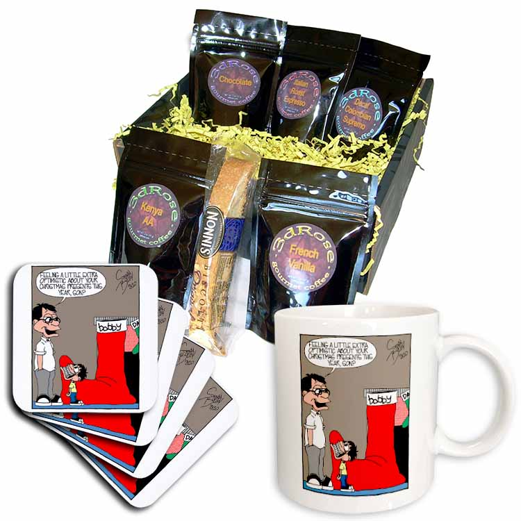 Sean Boley - Clever Child with very Large Christmas Stocking Coffee Gift Basket