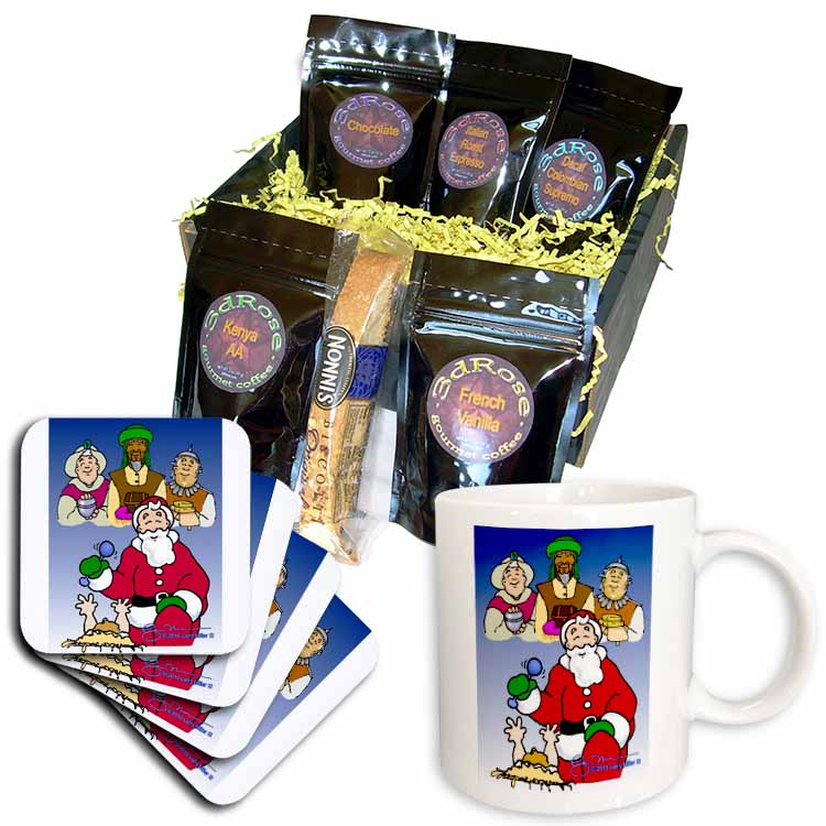 Larry Miller - Tribute to the Baby Jesus by the 3 Wisemen and Santa Coffee Gift Basket