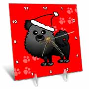 Cute Black Pomeranian Red with Santa Hat Desk Clock