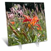 Wood Lily  Desk Clock