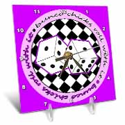 Bunco Chicks Roll With It Purple Desk Clock