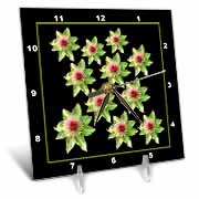 Celery green pink fantasy flowers on a black background Desk Clock