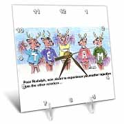 Kevin Edler Cartoon about Rudolphs Troubles for Christmas Desk Clock
