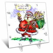VAL Cartoon about Gift Card Giving for Christmas Desk Clock