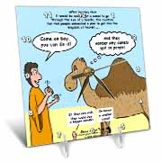 Mark 10-17-31 Stupid Animal Tricks - Camel through the Eye of a Needle Parable Desk Clock