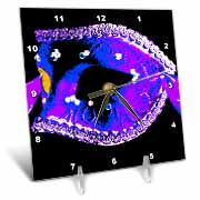 Masquerade In Antique Blue Purple Glitter Desk Clock