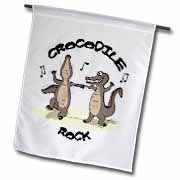 Out to Lunch Cartoon Crocodile Rock Flag