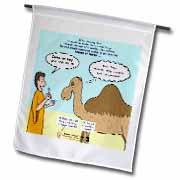 Mark 10-17-31 Stupid Animal Tricks - Camel through the Eye of a Needle Parable Flag