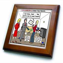 Ten Commandments 5 Honor Your Parents Framed Tile