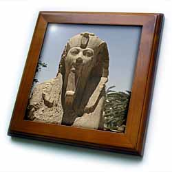 Egyptian Statutes up close Framed Tile