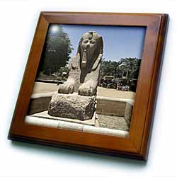 Egyptian Statutes Framed Tile