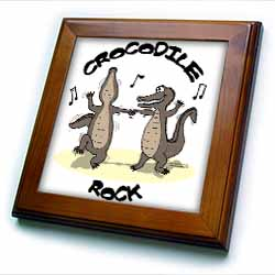 Out to Lunch Cartoon Crocodile Rock Framed Tile