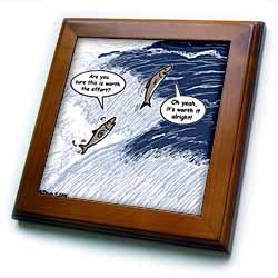 Salmon Spawning Advice Framed Tile