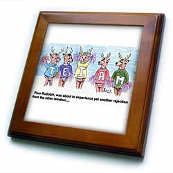 Kevin Edler Cartoon about Rudolphs Troubles for Christmas Framed Tile