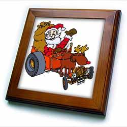 Nelson Deweys Reindeer Powered Santa Dragster Sleigh Framed Tile