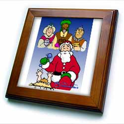 Larry Miller - Tribute to the Baby Jesus by the 3 Wisemen and Santa Framed Tile