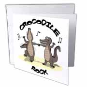 Out to Lunch Cartoon Crocodile Rock Greeting Card