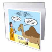 Mark 10-17-31 Stupid Animal Tricks - Camel through the Eye of a Needle Parable Greeting Card