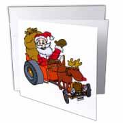 Nelson Deweys Reindeer Powered Santa Dragster Sleigh Greeting Card