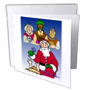 Larry Miller - Tribute to the Baby Jesus by the 3 Wisemen and Santa Greeting Card