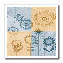 Blue and Brown Flower Design Iron on Heat Transfer