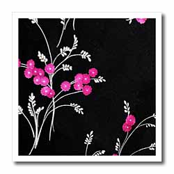 Pink Flowers on Black Iron on Heat Transfer