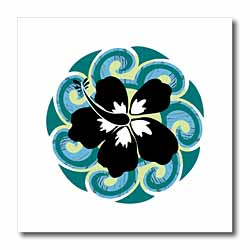 Hawaiian Flower Circle Iron on Heat Transfer