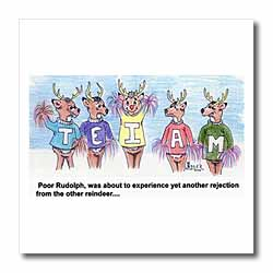 Kevin Edler Cartoon about Rudolphs Troubles for Christmas Iron on Heat Transfer
