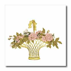 Pink Flowers in Gold Basket Iron on Heat Transfer