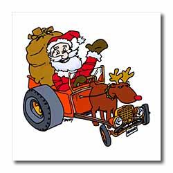 Nelson Deweys Reindeer Powered Santa Dragster Sleigh Iron on Heat Transfer