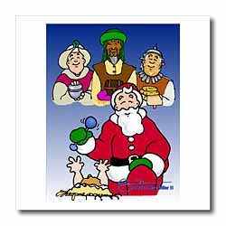 Larry Miller - Tribute to the Baby Jesus by the 3 Wisemen and Santa Iron on Heat Transfer