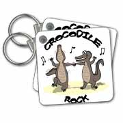 Out to Lunch Cartoon Crocodile Rock Key Chain