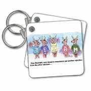 Kevin Edler Cartoon about Rudolphs Troubles for Christmas Key Chain