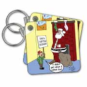 Dale Hunt - Santa Contributes to the Bad Economy Key Chain