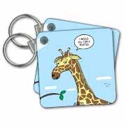 Giraffe Foraging Foibles - wanting a truffle Key Chain