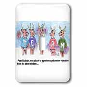 Kevin Edler Cartoon about Rudolphs Troubles for Christmas Light Switch Cover