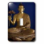 Young Buddha W/Lotus Flower  Namaste  Wisdom Gifts Light Switch Cover